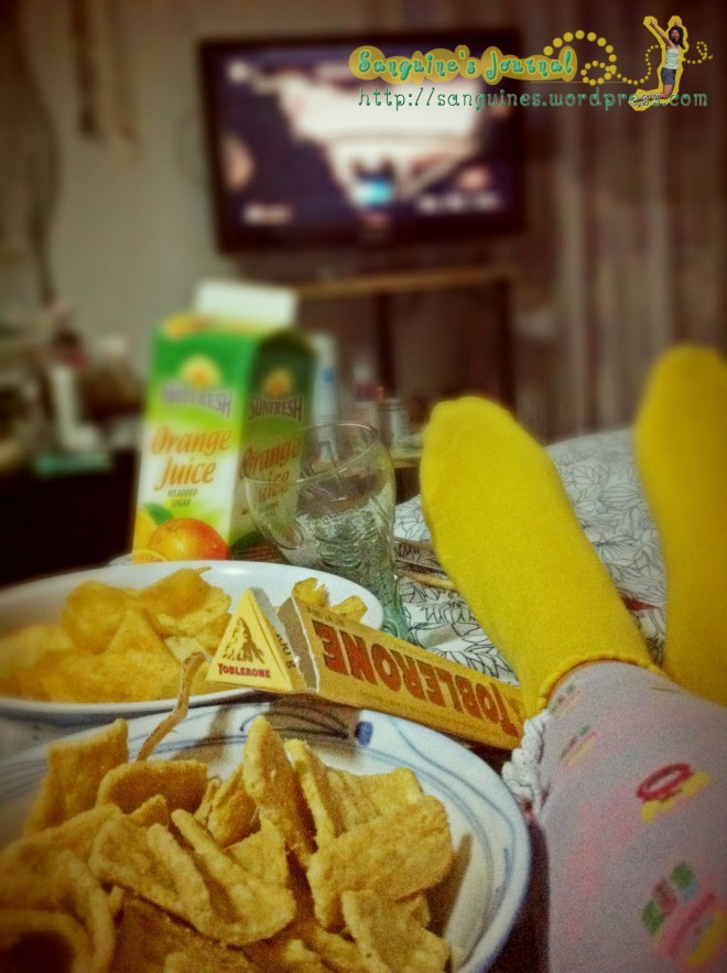 "Chips, Chocolate and Orange Juice for ""The Intouchables"", a great French Movie."