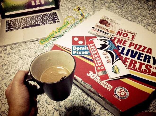 "Dominos and a cup of coffee and ""Gone"" movie."