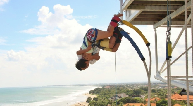 Taken on the same day with the previous photo. Bandi and I bungee jumped in double six, Bali. It was a scary yet exciting moment, but definitely a moment to remember. =)