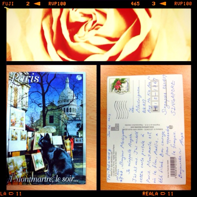 The latest postcard. This is Montmartre, the neighborhood I'm about to live in Paris later. The sender Angie wrote it in French! And I totally got it! (Guess my French Tutor did a good job!)
