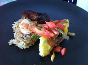 Bonus Photo of Bandi's dish, from Gordon's cookbook: Honey Glazed chicken with Shrimp Pilaf and Potato Fritata. Yum!