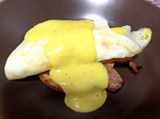 Egg Benedict with no poached egg.