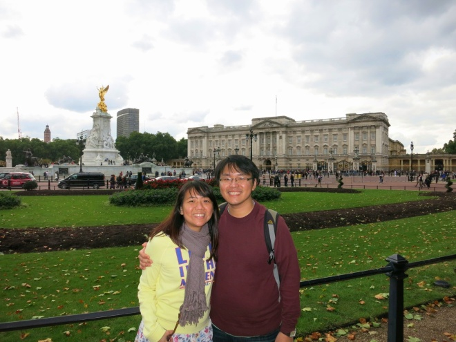 Day 1, in front of Buckingham Palace.