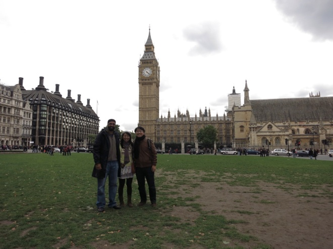"Day 1, Raj, me and Bandi, in front of ""Big Ben"" whose official name is Elizabeth Tower."