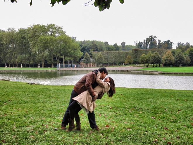 "One of the romantic photos we made in Versailles garden. Trust me I got lots of them!! I chose the most ""decent"" to be published. LOLOL"