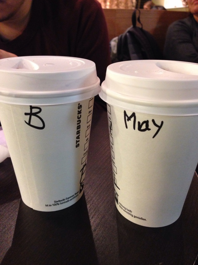 At Starbucks Munich. The barista could write my name but couldn't write Bandi's. LOL