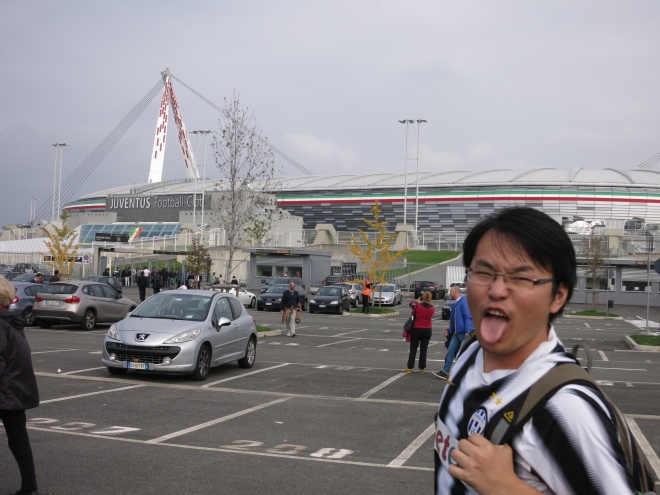 Bandi, in front of Juventus stadium.