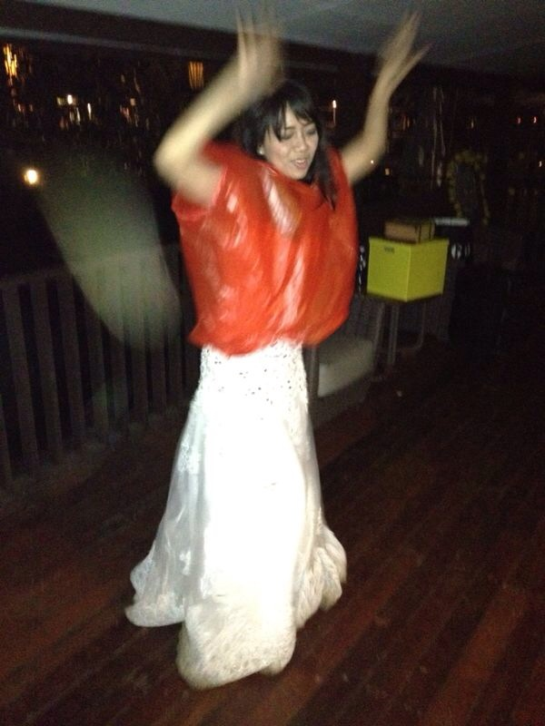 "Me dancing around on a plastic clothes. Tannia made this for me because she was afraid I got ""masuk angin"". LOLOLOL"