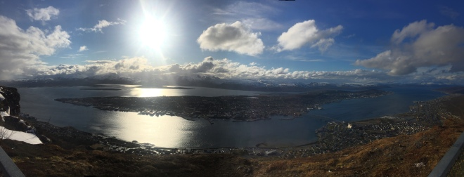 View of Tromso from the top of a mountain.